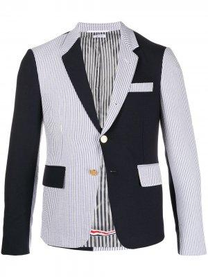 Пиджак из сирсакера Thom Browne. Цвет: 415 синий