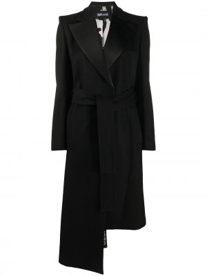 Пальто асимметричного кроя с поясом Just Cavalli. Цвет: черный