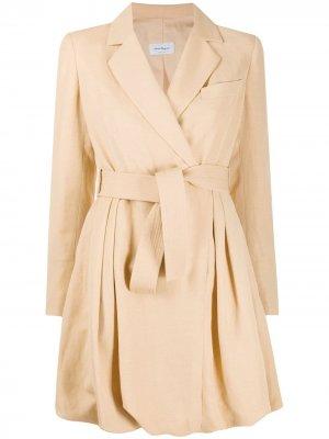 Платье с запахом и пышным подолом Salvatore Ferragamo. Цвет: нейтральные цвета