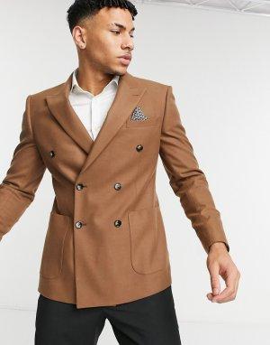Бежевый двубортный пиджак приталенного кроя Moss London-Коричневый цвет BROS