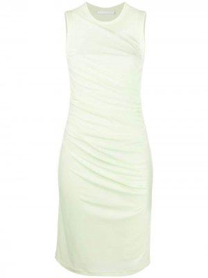 Платье без рукавов со сборками Helmut Lang. Цвет: желтый