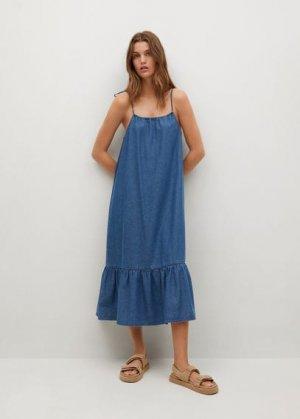 Джинсовое платье с воланом - Gaial-h Mango. Цвет: синий средний