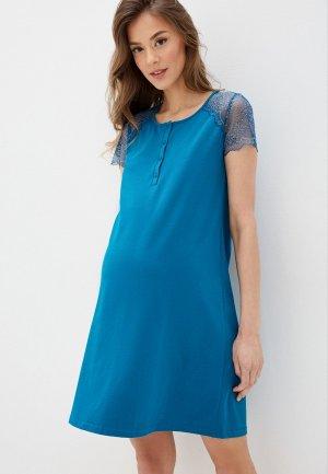 Платье домашнее Hunny mammy. Цвет: бирюзовый