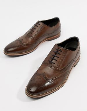 Коричневые кожаные броги с натуральной подошвой ASOS DESIGN. Цвет: коричневый