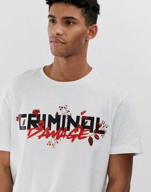 Черная oversize-футболка с логотипом -Белый Criminal Damage