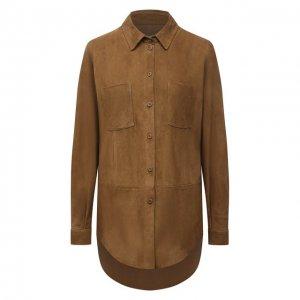 Замшевая рубашка DROMe. Цвет: коричневый