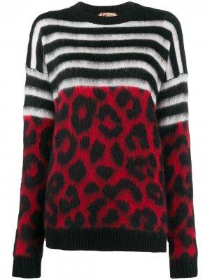 Полосатый джемпер с леопардовым узором вязки интарсия Nº21. Цвет: черный