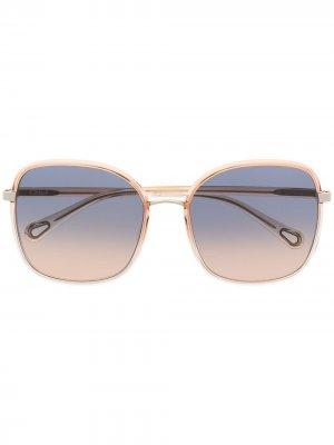 Солнцезащитные очки Franky в квадратной оправе Chloé Eyewear. Цвет: оранжевый