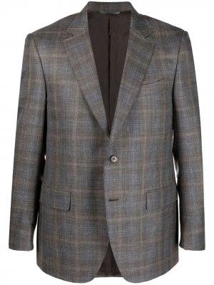 Однобортный пиджак в клетку Canali. Цвет: коричневый