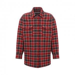 Утепленная куртка-рубашка Acne Studios. Цвет: красный