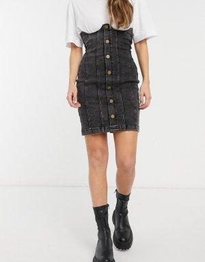 Джинсовая выбеленная юбка с завышенной талией -Черный Signature 8