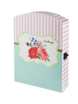 Ключница Цветы Русские подарки. Цвет: черный, голубой, розовый