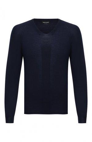 Шерстяной пуловер Giorgio Armani. Цвет: синий