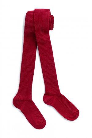 Малиновые ребристые колготки Bonpoint. Цвет: красный