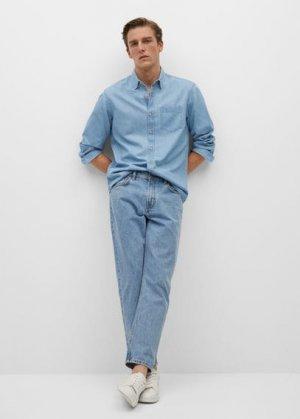 Джинсовая рубашка regular-fit с карманом - Chambre Mango. Цвет: светло-синий