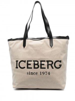 Сумка-тоут с логотипом Iceberg. Цвет: нейтральные цвета
