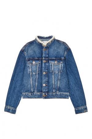 Голубая джинсовая куртка с отделкой Sandro. Цвет: синий