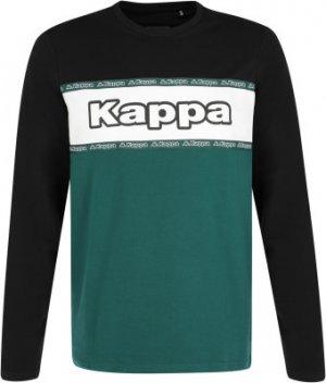 Поло с длинным рукавом мужское , размер 52 Kappa. Цвет: зеленый
