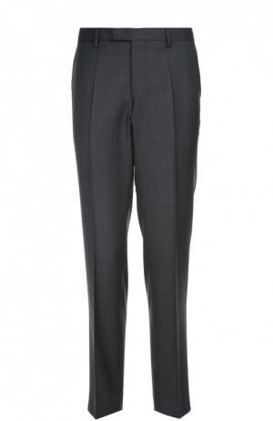 Классические брюки из фактурной шерсти BOSS. Цвет: темно-серый