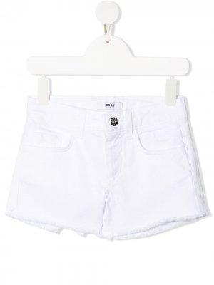 Raw-hem white denim shorts Msgm Kids. Цвет: белый