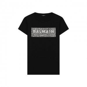 Хлопковая футболка Balmain. Цвет: чёрный