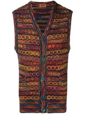Вязаная жилетка с геометрическим принтом Missoni Vintage. Цвет: желтый