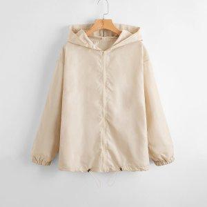 Куртка-ветровка на кулиске с молнией SHEIN. Цвет: хаки