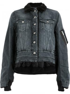 Укороченная джинсовая куртка свободного кроя Sacai. Цвет: черный
