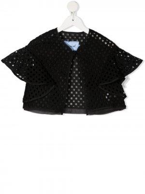 Жакет с оборками и вышивкой Mi Sol. Цвет: черный