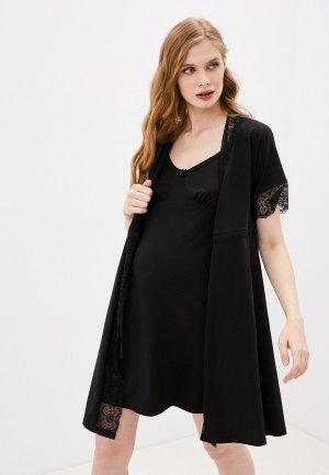 Халат и сорочка ночная Hunny mammy. Цвет: черный