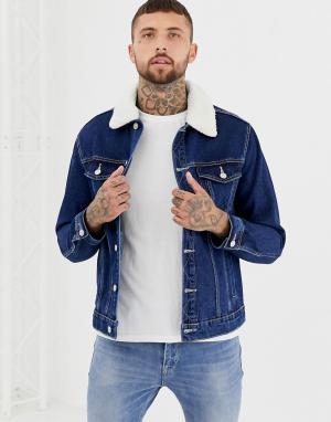 Джинсовая куртка с воротником борг Bershka. Цвет: синий