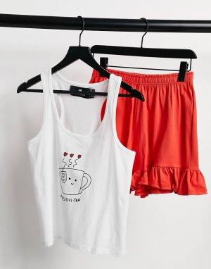 Пижамный комплект из белой майки с принтом чашки и надписью Рositivi-tea красных шортов рюшами -Многоцветный Heartbreak