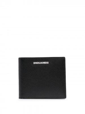 Бумажник с логотипом Dsquared2. Цвет: черный