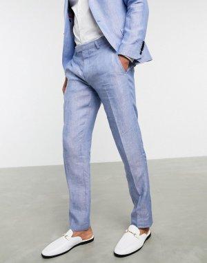 Голубые узкие льняные брюки -Голубой Twisted Tailor