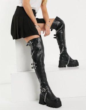 Массивные ботфорты черного цвета с цепочками -Черный цвет Lamoda