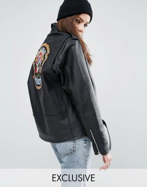 Кожаная байкерская куртка с нашивкой из пайеток Guns N Roses Reclaime Reclaimed Vintage. Цвет: черный
