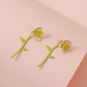 Серьги-жакеты в форме цветка для девочек SHEIN. Цвет: многоцветный