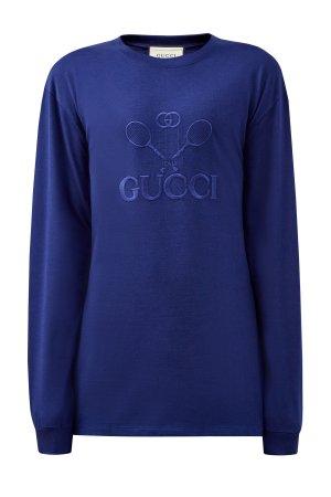 Свитшот из хлопка с вышивкой Gucci Tennis в тон. Цвет: синий