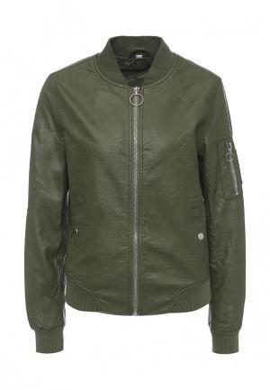 Куртка кожаная B.Style. Цвет: зеленый