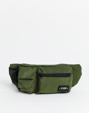 Сумка-кошелек на пояс в стиле милитари цвета хаки -Зеленый Only & Sons