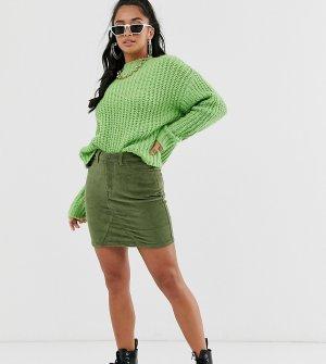 Вельветовая мини-юбка -Зеленый Noisy May Petite