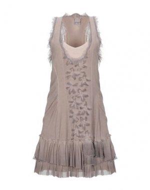 Короткое платье PF PAOLA FRANI. Цвет: голубиный серый