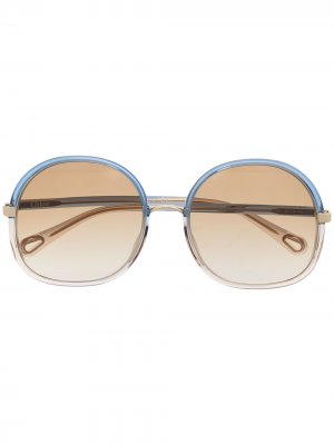 Солнцезащитные очки Franky в массивной круглой оправе Chloé Eyewear. Цвет: синий