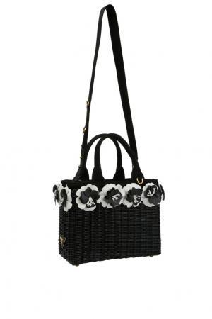 Плетеная сумка с цветочной аппликацией Prada. Цвет: черный