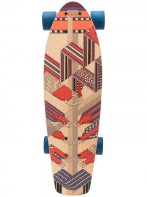 Скейтборд pre-owned с узором Hermès. Цвет: коричневый