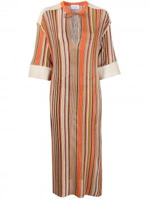 Платье миди тонкой вязки Salvatore Ferragamo. Цвет: нейтральные цвета