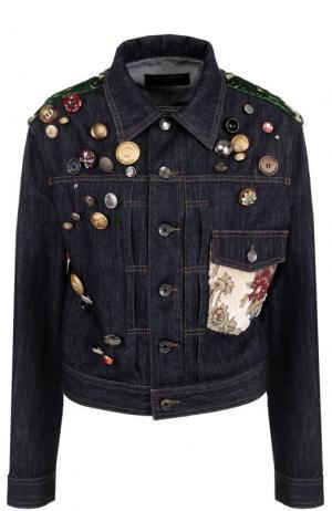Джинсовая куртка прямого кроя с декоративной отделкой Dolce & Gabbana. Цвет: темно-синий