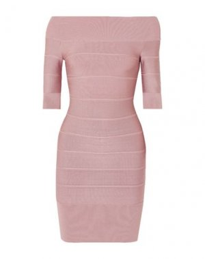 Короткое платье HERVÉ LÉGER. Цвет: пастельно-розовый