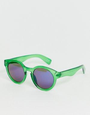 Солнцезащитные очки в зеленой оправе стиле ретро -Зеленый Jeepers Peepers