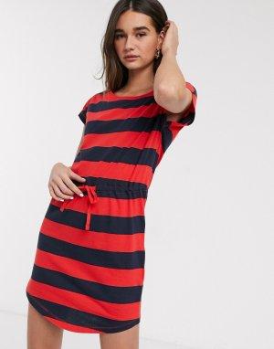 Трикотажное платье с короткими рукавами и поясом -Темно-синий Only